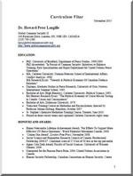CV  Dr. Peter Langille - November 2015